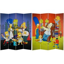 "71"" x 63"" Tall Double Sided Team Simpsons 4 Panel Room Divider"