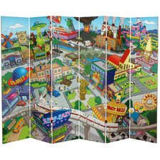 "<strong>Oriental Furniture</strong> 71"" x 94.5"" Tall Double Sided Springfield Town Map 6 Panel Room Divider"
