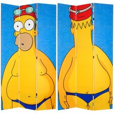 "84"" x 51"" Tall Double Sided Swimsuit Homer 3 Panel Room Divider"