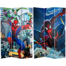 "<strong>Oriental Furniture</strong> 71"" x 47.25"" Tall Double Sided Spider-Man Rogue's Gallery 3 Panel Room Divider"