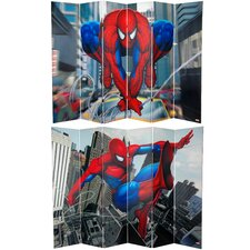 "71"" x 94.5"" Tall Double Sided Spider-Man Web-Slinger 6 Panel Room Divider"