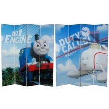 "71"" x 63"" Tall Double Sided Thomas and Harold 4 Panel Room Divider"