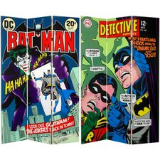 "<strong>Oriental Furniture</strong> 71"" x 47.25"" Tall Double Sided Batman and The Joker 3 Panel Room Divider"
