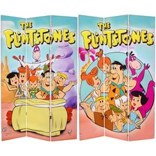 "71"" x 47.25"" Tall Double Side Flintstones 3 Panel Room Divider"