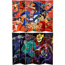 "<strong>Oriental Furniture</strong> 71"" x 94.5"" Tall Double Sided Justice League Heroes and Villains 6 Panel Room Divider"
