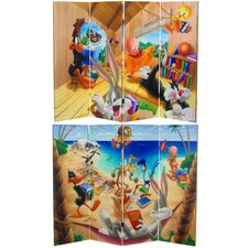 "48"" x 63"" Tall Double Sided Bugs Bunny and Friends 4 Panel Room Divider"
