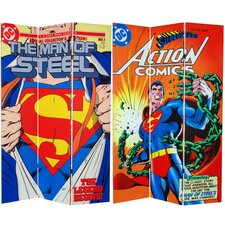 "<strong>Oriental Furniture</strong> 71"" x 47.25"" Tall Double Sided Superman Man of Steel 3 Panel Room Divider"