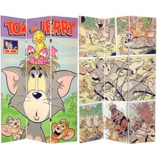 """71"""" x 47.25"""" Tall Double Sided Tom and Jerry 3 Panel Room Divider"""