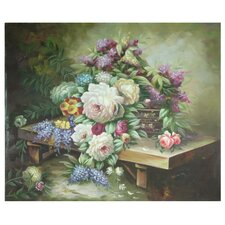 <strong>Oriental Furniture</strong> Hand Painted Table Floral Bouquet