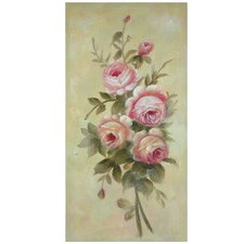 Hand Painted Rustic Roses in Bloom Original Painting on Canvas