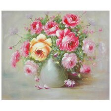 Hand Painted Peonies Boutonniere Original Painting on Canvas