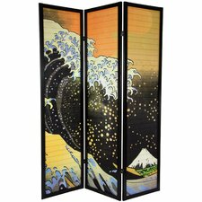 Tall Japanese Wave Shoji Screen