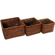 <strong>Oriental Furniture</strong> Hand Woven High Basket Tray (Set of 3)