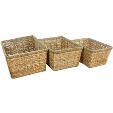 <strong>Oriental Furniture</strong> Hand Woven Storage Basket (Set of 3)