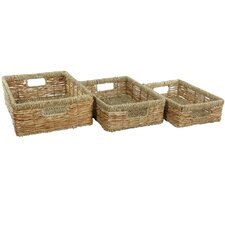 <strong>Oriental Furniture</strong> Hand Woven Low Basket Tray (Set of 3)
