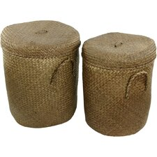 <strong>Oriental Furniture</strong> Rush Grass Laundry Hamper (Set of 2)
