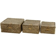 Hand Woven Covered Basket (Set of 3)