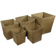<strong>Oriental Furniture</strong> Hand Woven Storage Bin (Set of 5)