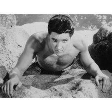 Elvis Presley At the Beach Photographic Print on Canvas
