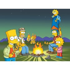 The Simpsons Campfire Graphic Art on Canvas