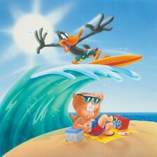 Daffy and Porky Surf's up Graphic Art on Canvas