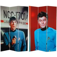 "<strong>Oriental Furniture</strong> 71"" x 47.25"" Star Trek Spock and McCoy 3 Panel Room Divider"