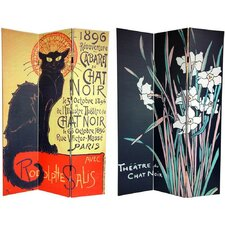 "72"" x 48"" Double Sided Chat Noir 3 Panel Room Divider"