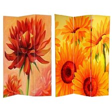 "72"" x 48"" Double Sided Poppies and Sunflowers 3 Panel Room Divider"