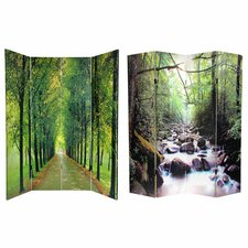 "<strong>Oriental Furniture</strong> 70.88"" x 63"" Double Sided Path of Life 4 Panel Room Divider"