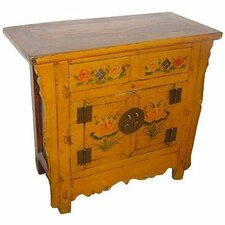 <strong>Oriental Furniture</strong> 2 Drawer Painted Cabinet