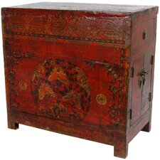 <strong>Oriental Furniture</strong> Chinese Hand Painted 2 Drawer Cabinet