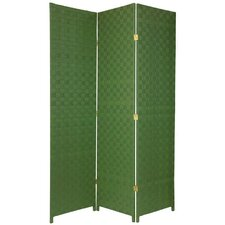 Tall Woven Fiber Room Divider in Light Green
