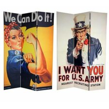 "<strong>Oriental Furniture</strong> 70.88"" x 47.25"" Double Sided WWII Posters 3 Panel Room Divider"