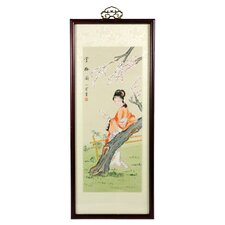 Asian Ravishing Beauty Watercolor Framed Original Painting