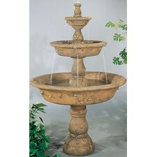 Tiered Cast Stone Triple Tazza Waterfall Fountain