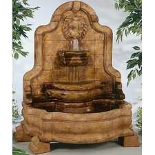 Wall Cast Stone Lion Face Terrazzo Bella Waterfall Fountain