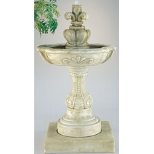 Tiered Cast Stone French Fleur de Lys Cascade Fountain