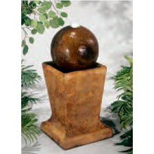 Centerpiece Cast Stone Sphere On Low Pedestal Fountain
