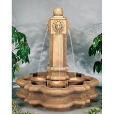 <strong>Henri Studio</strong> Lion Cast Stone Classic Pillar Waterfall Fountain