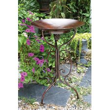 Metal Bird Bath Scrolling