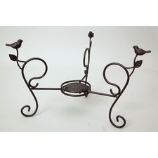 Bird Bath Stand Short with Birds