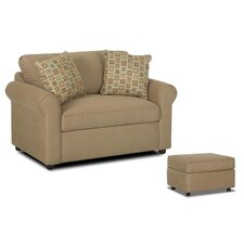 Brighton Fabric Sleeper Loveseat and Ottoman