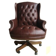 Home Office High-Back Leather Executive Chair with Tufting