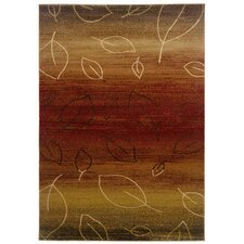 Adana Cherry/Light Brown Striped / Leaf Motifs Rug