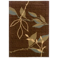 Opulence Light Brown/Light Moss Leaf and Sprig Design Rug