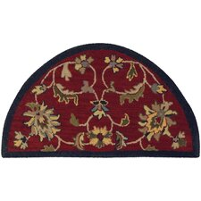 Shapes Red/Navy Border and Classic Floral Rug