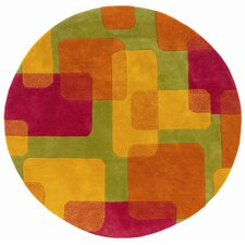 Vibrance Lime Squares and Rectangles Rug