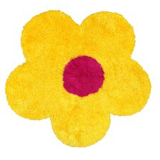 Senses Shag Yellow Flower Kids Rug