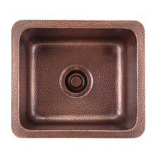 "Renovations 17"" x 15"" Como Square Hand Hammered Bar Sink"