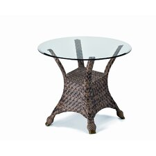 <strong>Telescope Casual</strong> 30'' Round Glass Wicker Dining Table